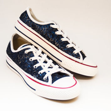 Youth Kids Navy Blue on White Converse Canvas Low Tops Sneakers Shoes