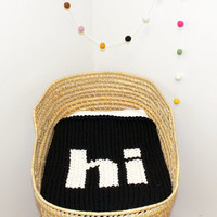 "Black Knitted ""Hi"" Baby Blanket for Bassinet, Stroller, Car Seat, or lap"