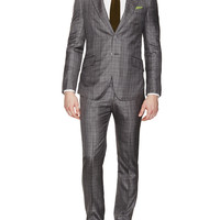 Notch Lapel Check Silk Suit