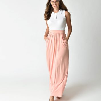 Retro Style Blush Pink High Waist Grecian Maxi Skirt