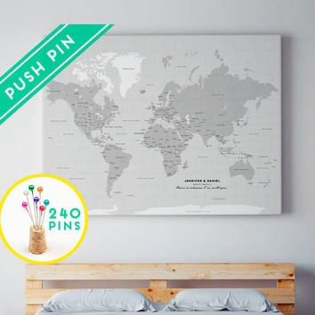 Large World Map CANVAS Choose Color From Macanaz Shop Large - Grey world map canvas