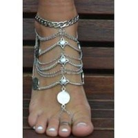 *[ANK]-Silvertone Coin & Multi-Chain Foot Jewelry (Anklet)