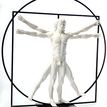 Vitruvian Universal Man Image of Perfection Statue by DaVinci White, Assorted Sizes