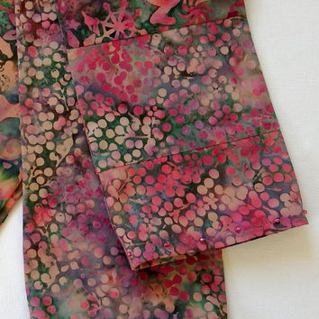 """BatikStudio Holiday Scarf, Reindeer Scarf, Unique Handmade Scarf, 5"""" Wide 78"""" Long, Lightweight Holiday Scarf, Pink and Green Holiday Scarf"""