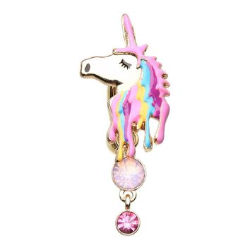 Golden Magical Unicorn Belly Button Ring 14ga Surgical Steel Navel Ring