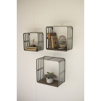 Kalalou Set Of Three Slat Metal And Wood Display Crates Chw1033 | Bellacor