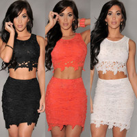 Graceful Sexy Two piece Lace Skirt Set