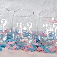 """Personalized """"Gender Reveal"""" Printed Stemless Wine Glass (White Or Kraft Gift Box Available)"""