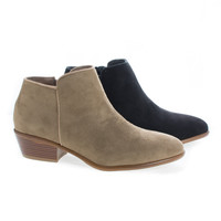 Almond Toe Ankle Zip Up Stacked Heel Boots (5.5 M US, TaupeSuede)