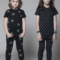 Nununu Star Short Sleeve PJ's Sleepwear in Black - NU0755