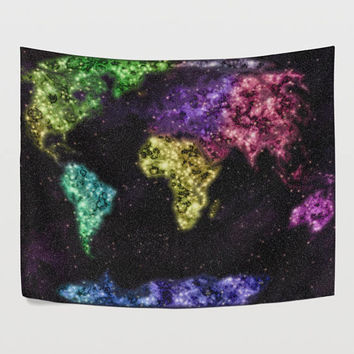 Galaxy Colorful World Map Tapestry Wall Hanging Star Purple Black Wall Decor Art for Bedroom Living Room and Dorm