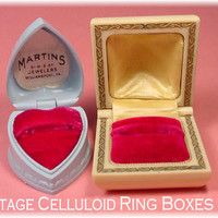 2 Celluloid Warner Art Deco Vintage Ring Presentation Box Boxes ~ Domed & Blue Heart