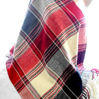 red blanket scarf, blanket shawl, scarves for women, soft scarf, cozy scarf, trendy scarf