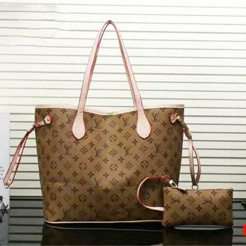 Louis Vuitton LV Women Shopping Leather Handbag Tote Satchel Shoulder Bag Two-Piece B-LLBPFSH
