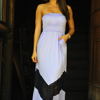 Chevron Forever Maxi Dress: Purple/Black | Hope's