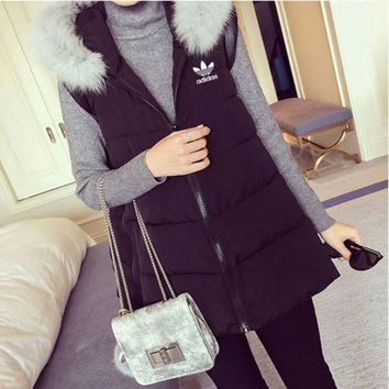 ESBONJ. Adidas' Women Fashion Hooded Zip Cardigan Sleeveless Down Vest Jacket Coat