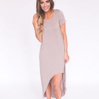 High-Low Dress- Taupe