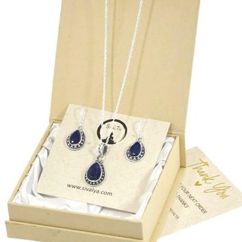 Aurora Raw Sapphire Necklace and Earrings Set in Sterling Silver