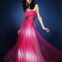 AB038 Pink Ombre Chiffon Prom Dress Evening Gown