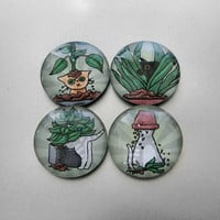 Cute Cat Magnets Glass Cats Digging in Potted Plants