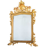Magnificent Italian Giltwood Mirror With Carved Mask Of 'the Green Man' C.1750