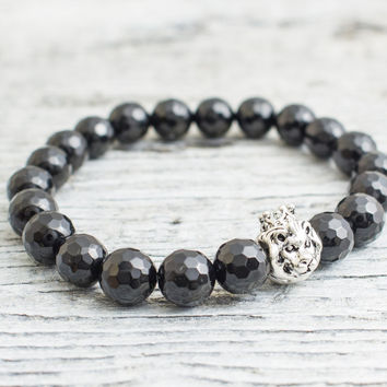 Black faceted onyx stone beaded 925 sterling silver Lion with crown stretchy bracelet, Mens bracelet, Womens bracelet