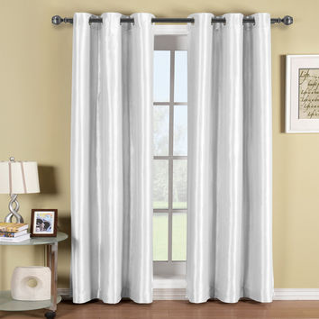 Soho White Grommet Blackout Window Curtain Panel