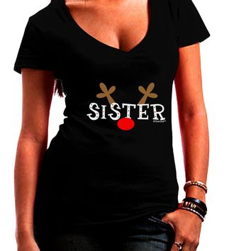 Matching Family Christmas Design - Reindeer - Sister Juniors V-Neck Dark T-Shirt by TooLoud