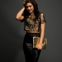Promo-gold Foil Crochet Crop Top