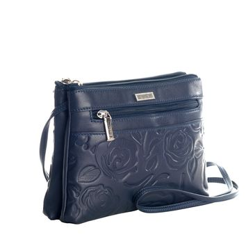 Charlotte-Leather Shoulder Crossbody Bag-Navy Blue