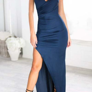 Blue Spaghetti Strap High Slit Sleeveless Dress