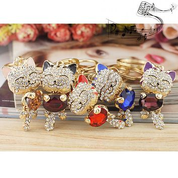 Free Rhinestone Crystal Cat Key Chains Holder Multi-Color Stone Key-Rings