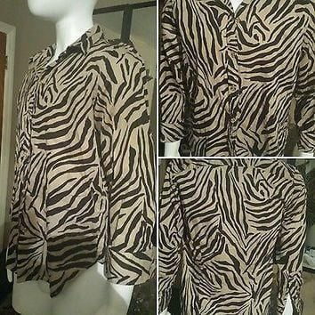 WOMEN'S RALPH LAUREN CHAPS BUTTON DOWN ZEBRA ANIMAL PRINT SHIRT TOP BLOUSE SZ L