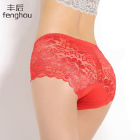 Women underwear briefs sexy women's panties  full transparent pink lace seamless  plus size string panty underwear women