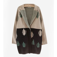 Multi Christmas Tree Lapel Casual Cardigan