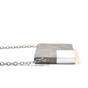 Concrete Square Concrete Necklace with Silver square  leafing, Architectural Necklace / Modern Necklace/ Concrete Jewelry
