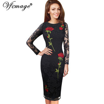 Vfemage Womens Elegant Sexy Embroidered Floral Lace See Through Party Special Occasion Pencil Sheath Embroidery Dress 4401