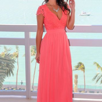 Coral Crochet Top Maxi Dress with Open Back
