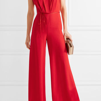 Adam Lippes - Belted pleated crepe jumpsuit
