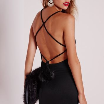 Missguided - Crepe Faux Fur Pom Pom Bodycon Dress Black