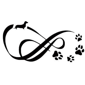 12.1*6.1CM Dachshund Dog Eternity Paw Print Automobile Tail Decorative Decals Creative Animal Car Sticker C6-1081