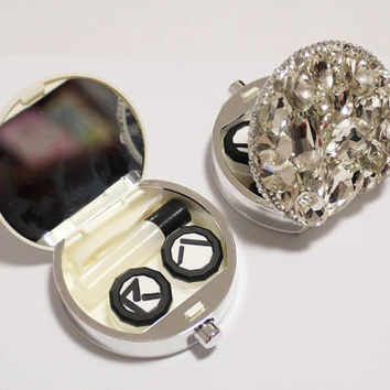 Bling Bling Rhinestones Contact Lenses Case Set