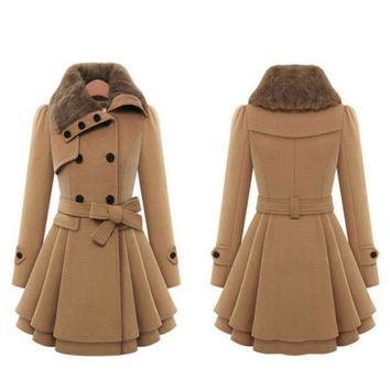 Women's Fashion Slim Double Breasted Thicken Jacket