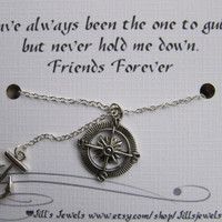Best Friend Compass and Anchor Charm Necklace and Friendship Quote Inspirational Card- Bridesmaids Gift - Friends Forever - Quote Gift