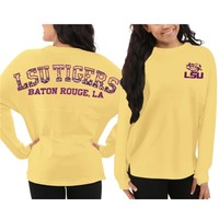 LSU Tigers Women's Aztec Sweeper Long Sleeve Oversized Top – Yellow