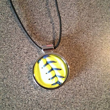 Softball Seam Necklace by 360Softball on Etsy