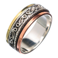 Spinner Ring Three Tone Sterling Silver Vine Spinner