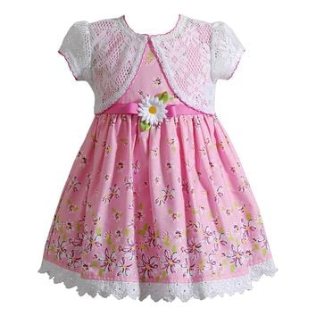 Youngland Flower Dress & Crochet Shrug Set - Baby Girl, Size: