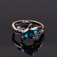 Elegant&Stylish Blue Fire Opal Cute Dolphin Animals Crystal Lady's Ring Gift = 1958377156