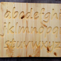 Natural Wood Alphabet Tracing Board, Alphabet Tracing Board, Uppercase and Lowercase Alphabet Tracing Board